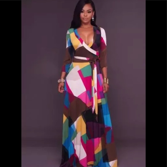 e7710f6c32d Plus Size Abstract Print Belted Maxi Wrap Dress